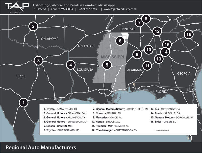 regional auto manufacturers in the southeast view an interactive map
