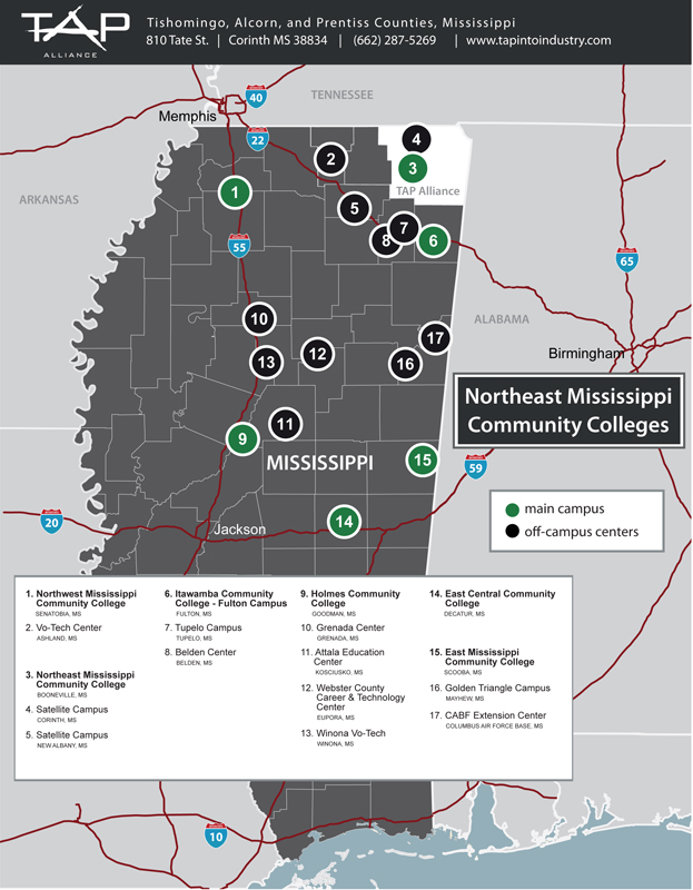 Mississippi College Map Community Colleges in Mississippi Map   TAP Alliance